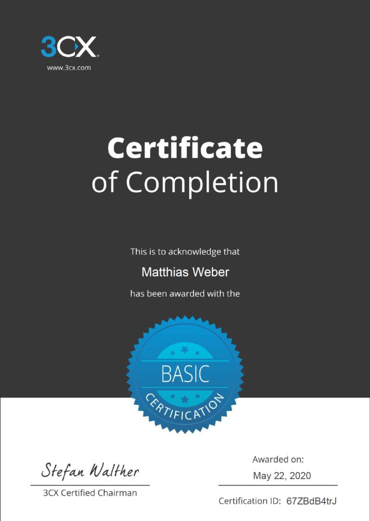 Basic Certification bei 3CX