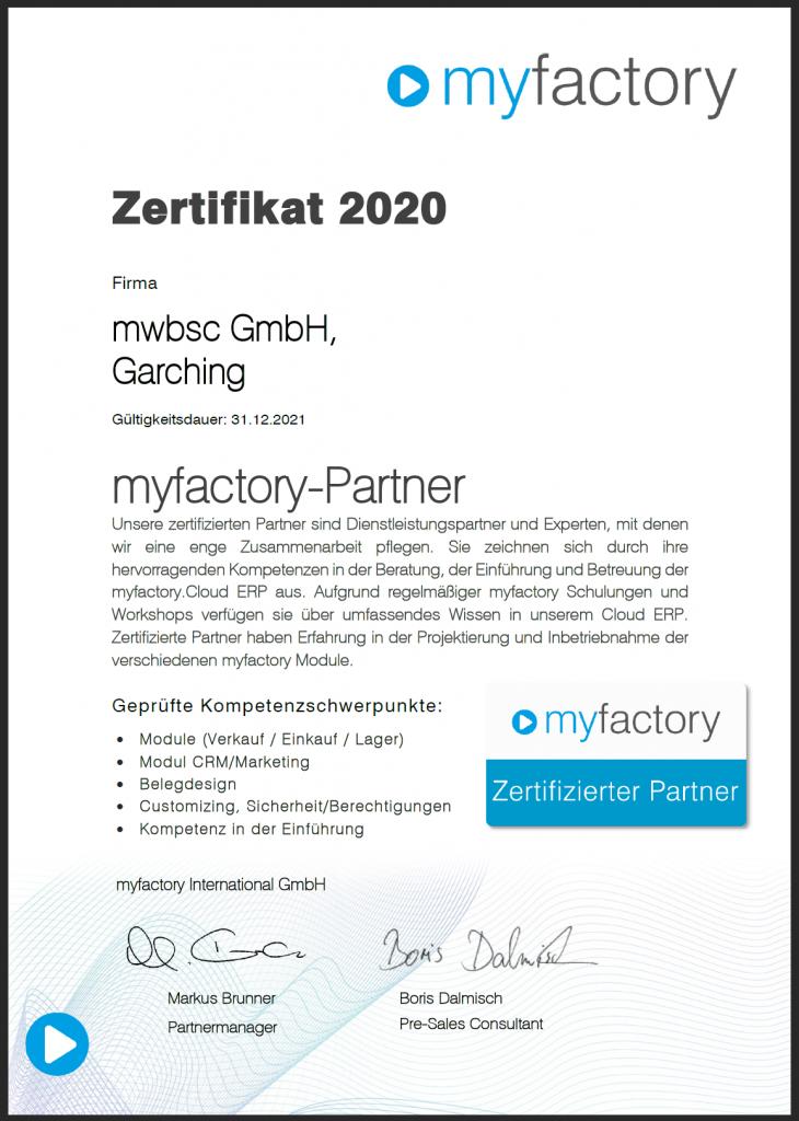Cloud-Office.center ist zertifizierter myfactory Partner