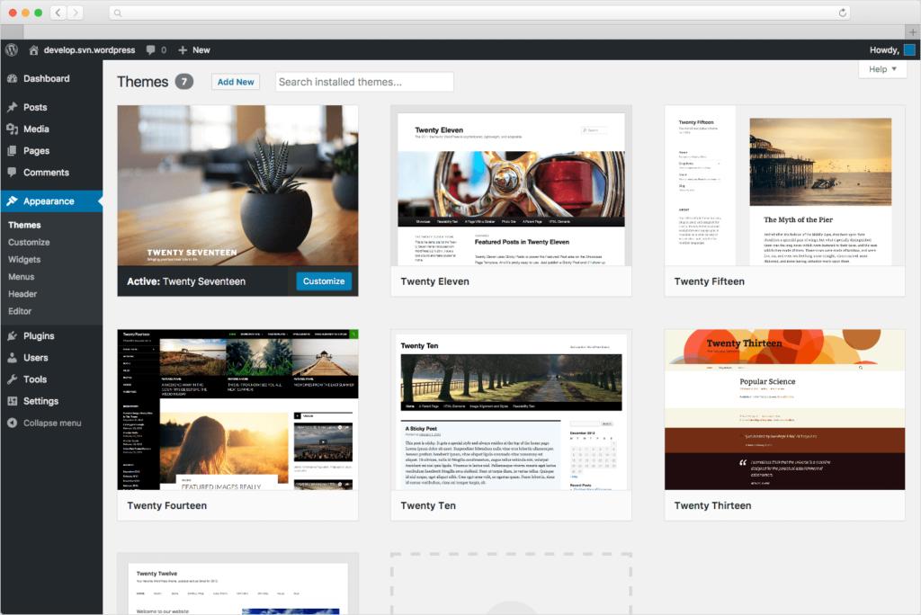 Mit Themes lässt sich die Webseite schön darstellen.