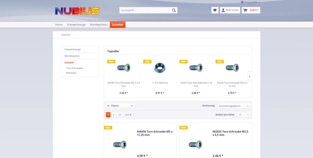 Das Frontend vom neuen Online-Shop von Nubius.
