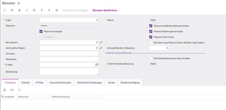 lexbizz Self-Service Portal: Benutzerkonto hinzufügen