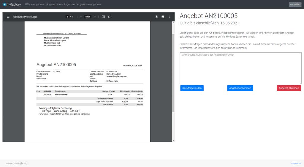 """myfactory Service Pack 912: Neue Elemente: """"Belegvorschau"""" und """"Formular Angebot annehmen"""""""